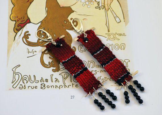 silver & cotton dark red handwoven long by JewelryByFlorita