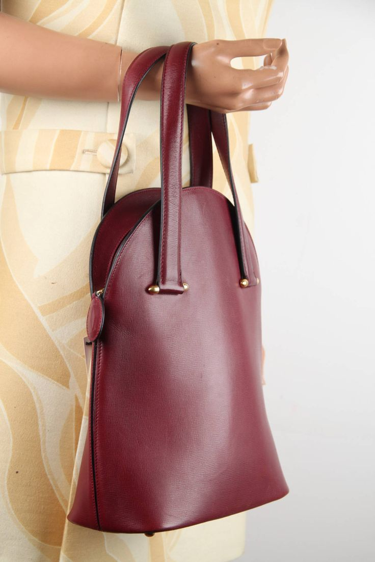 CARTIER Vintage Burgundy Wine Leather TOTE HANDBAG Purse SATCHEL | From a collection of rare vintage tote bags at https://www.1stdibs.com/fashion/handbags-purses-bags/tote-bags/