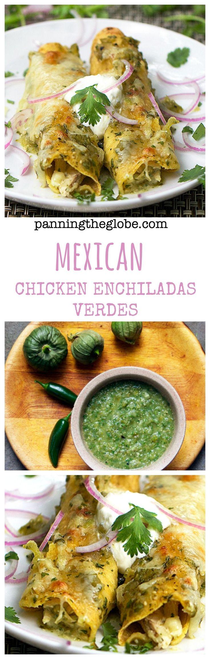 Chicken Enchiladas Verdes: Tender chicken, tangy roasted tomatillo salsa, melted cheese, rolled in a corn tortilla. #GlutenFree