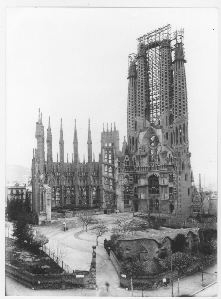 Antonio Gaudi, La Sagrada Familia, Barcelona, c. 1925. I love how I have been here in the past decade and it's still not close to finishing.