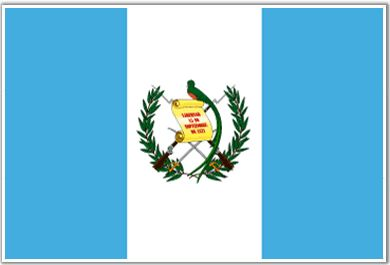 the flag. On the Guatemala flag the Blue on each side of the flag show Guatemala's location between the Pacific Ocean and the Atlantic Ocean. White is the traditional color of peace to them! In the center of the flag is their national bird the Resplendent Quetzal. In the birds claw is a scroll with the date of Central American independence from Spain, December 15, 1821.