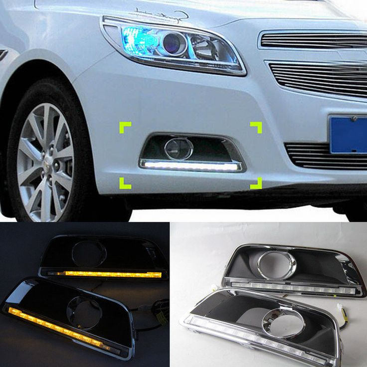 2pcs White+Yellow Daytime Day Fog Lights DRL with turning signal For Chevrolet Malibu 2011 2012 2013 2014