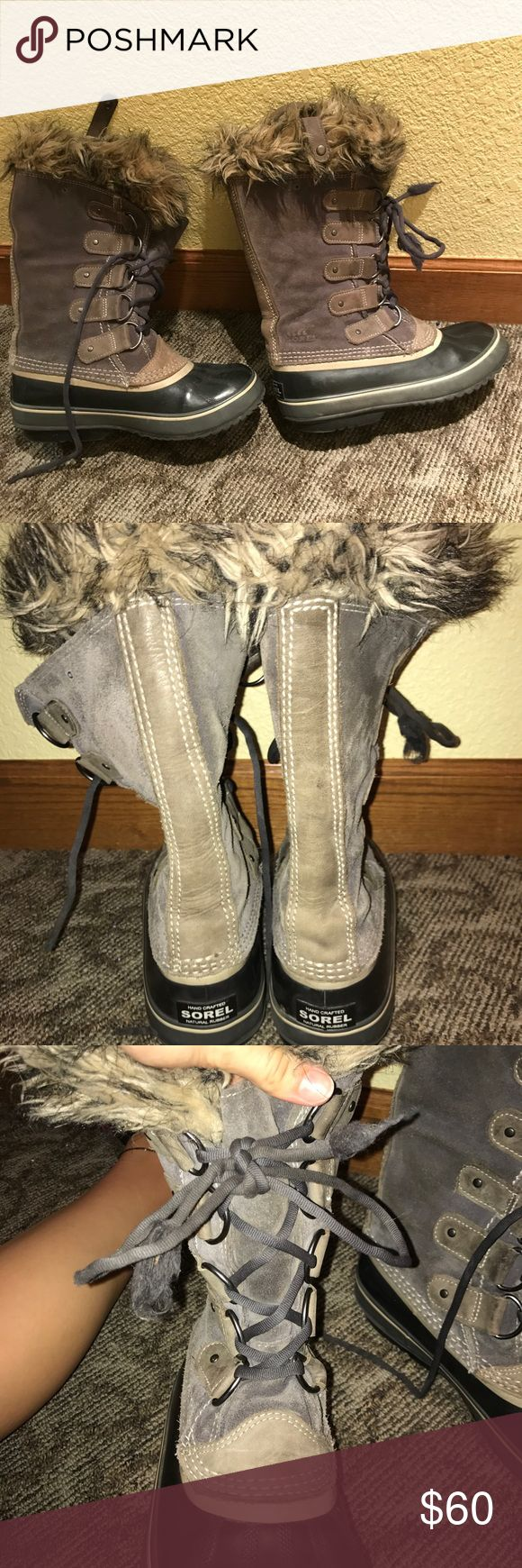 Grey sorel winter boots They are extremely warm and waterproof I wish they still fit me! The only thing they need are new laces and three of the clips on the top are broken but they are not noticeable and don't affect the fit of the boot Sorel Shoes Winter & Rain Boots