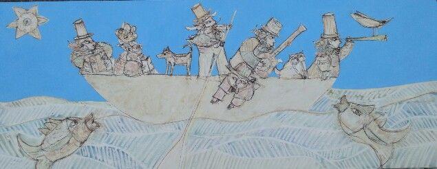 sulla barca dei teatranti