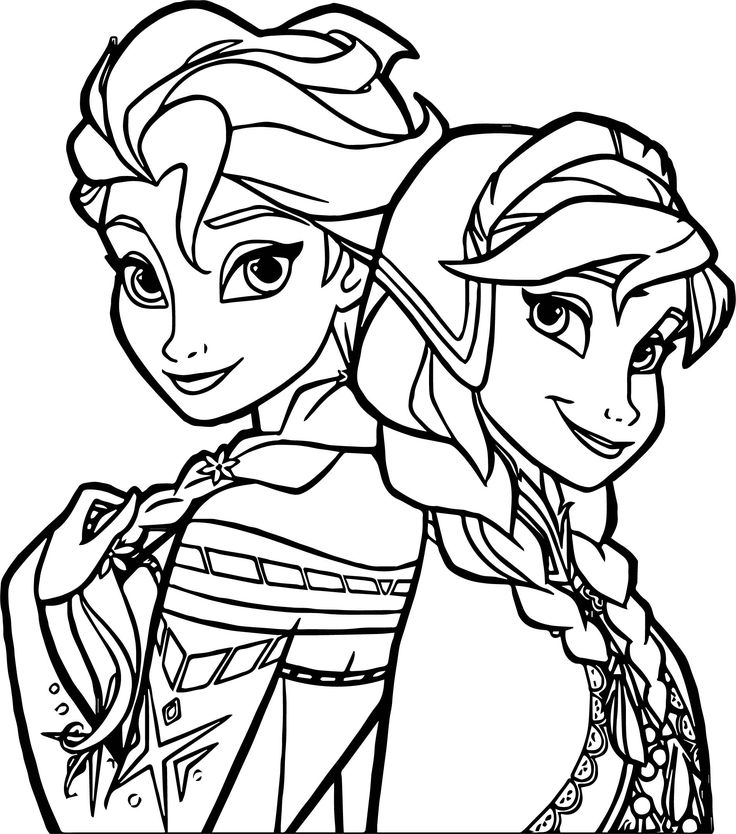 sisters coloring pages - frozen sisters coloring page kids colouring bullet