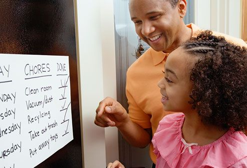 The Role of Routine  Parents can give kids more structure at home by laying out clear routines. Posting a daily schedule will remind your child of what he or she is supposed to be doing at any given time. This can help a child with ADHD stay on task. The schedule should include specific times for waking up, eating, playing, homework, chores, activities, and bedtime.