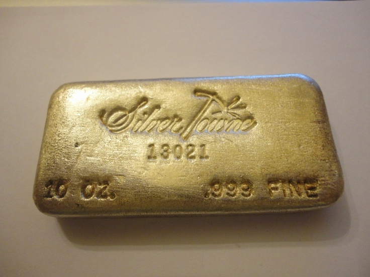 Silver Towne 10oz Poured Silver Bar From The Early 1980 S