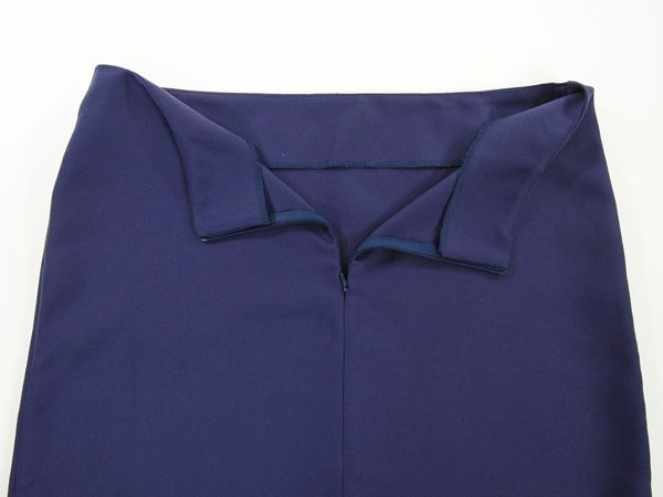Dark blue trapezoid skirt with extended back, skirt for beginner sewists, skirt for pear shape