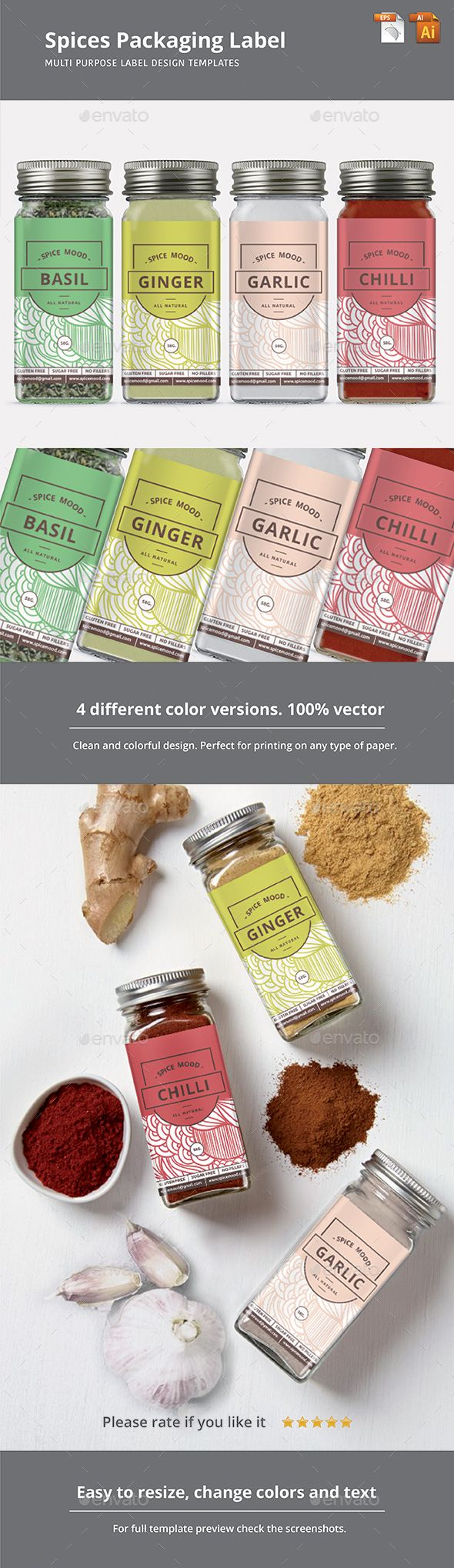 Spices Packaging Label Template Vector EPS, AI Illustrator #design