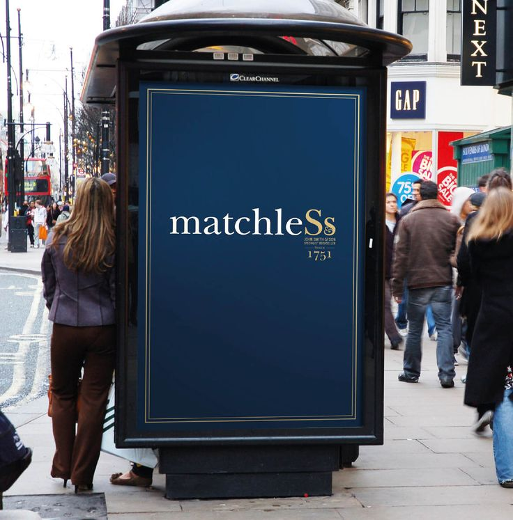 John Smith & Son. Brand Identity. Advertising. Posters. ad shell. Ad shelter. Bus Stop. London Oxford Street.