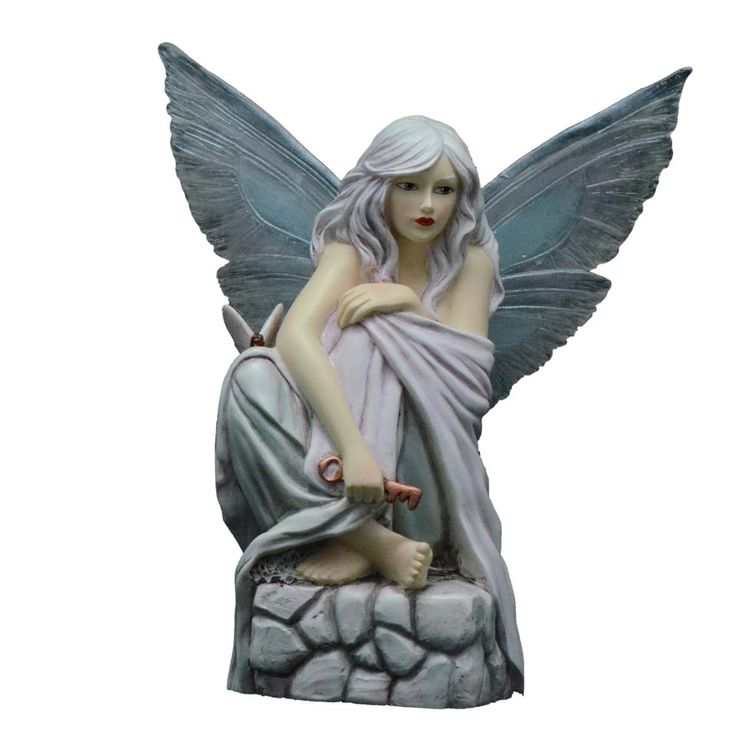 One of a set of 3, this fairy is part of the Lavender Selina Fenech Fairysite Faerie figurine collection.  Each fairy collectible in the set has a lovely lavender color scheme.  This Lavender collectible is called Keeper of Secrets, and depicts a fairy with a key sitting upon a stone block.