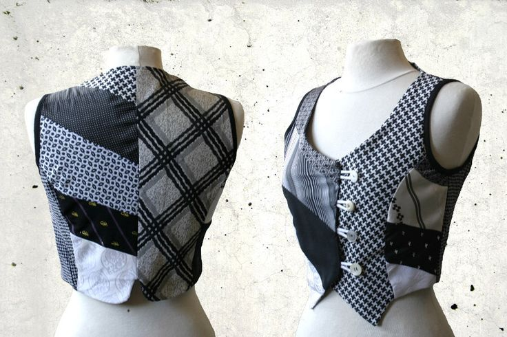 Gilet, vest, size S/M  black and white, upcycled neckties, sustainable, Solmode, ties by SolmodeDesign on Etsy https://www.etsy.com/listing/187291506/gilet-vest-size-sm-black-and-white