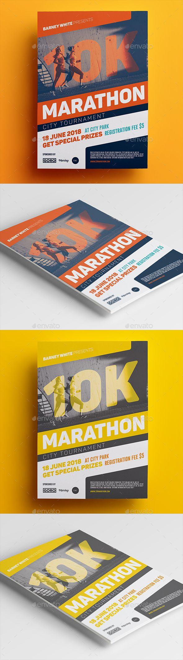 Marathon #Flyer - Sports #Events Download here:  https://graphicriver.net/item/marathon-flyer/19550277?ref=alena994