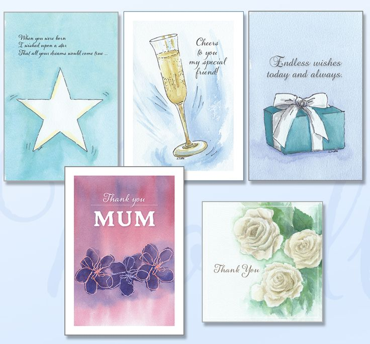 'OCCASIONS' Greeting card pack includes five cards featuring soft watercolours just for that special occasion. www.boodledesigns.com.au