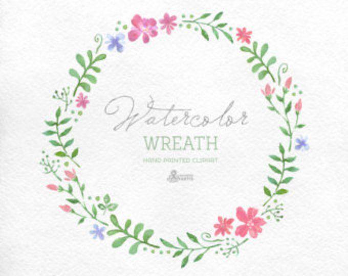 Acuarela guirnalda Clipart. Pintado a mano marco floral, elementos diy boda, flores, invitación, guirnalda de país, flor, primavera, flores silvestres