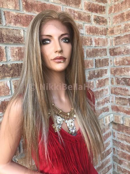 Hannah Hi Lite Blond Straight Human Hair Blend Multi