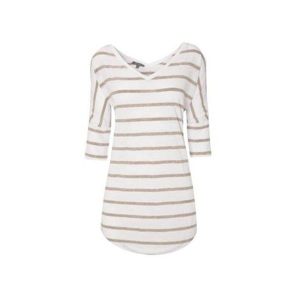 Et Vous Stripe Batwing T Shirt ($23) ❤ liked on Polyvore featuring tops, t-shirts, striped v-neck tee, striped v neck t shirt, v-neck tops, striped t shirt and layering tee