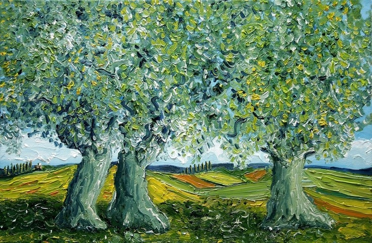 Oil Painting Olive Trees in Italy - Nancy Van Den Boom