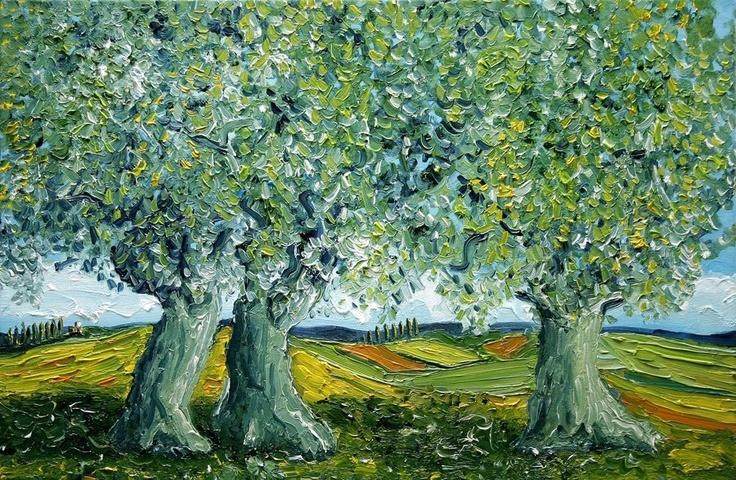Oil Painting Olive Trees in Italy - Nancy Van Den Boom