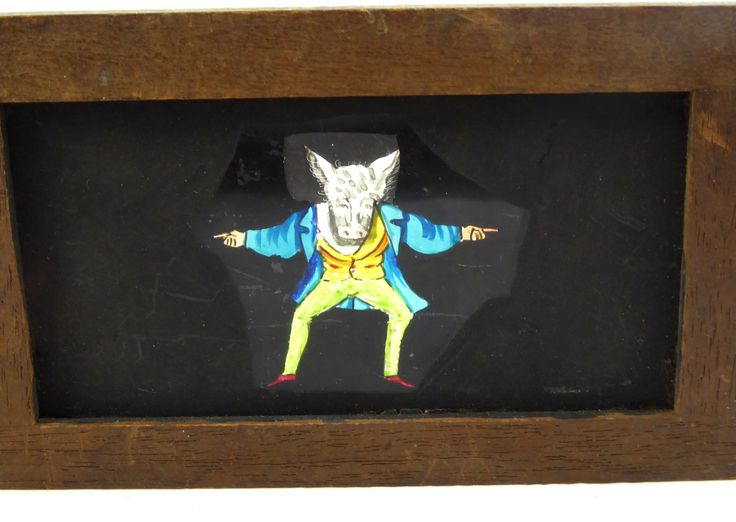 Mid 1800s Hand Painted Glass Magic Slide in Cedar Frame Donkey Man - The…