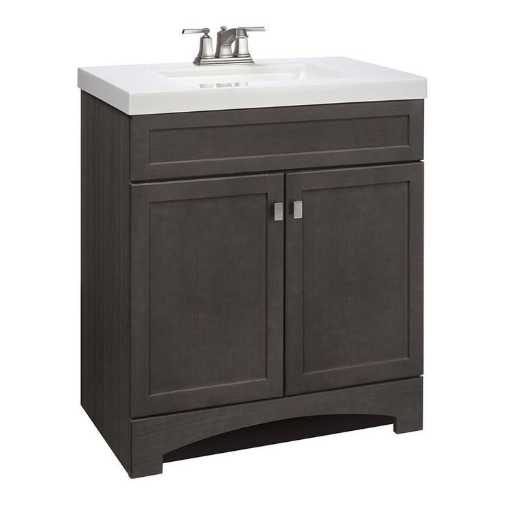 Shop style selections drayden grey integral single sink - Lowes single sink bathroom vanity ...