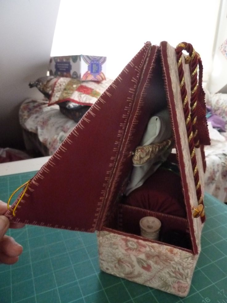 Travelling bobbin lace pillow with side flap open by teddybearmargaret.