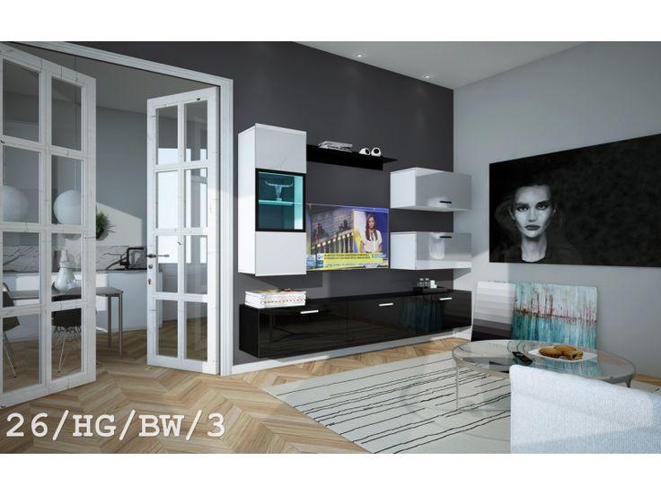 Meblościanka RICO C26 połysk - Nowość    #meble #furniture #design #bw #livingroom #salon #TVset #wallunit #madeinpoland #sklepmeble