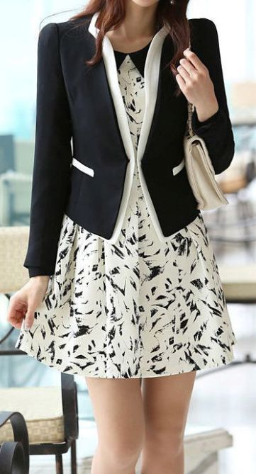 Black and White printed dress with blazer - simple and pretty!
