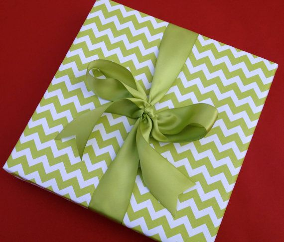 Green Chevron Premium Wrapping Paper by Paperjacks on Etsy, $7.99