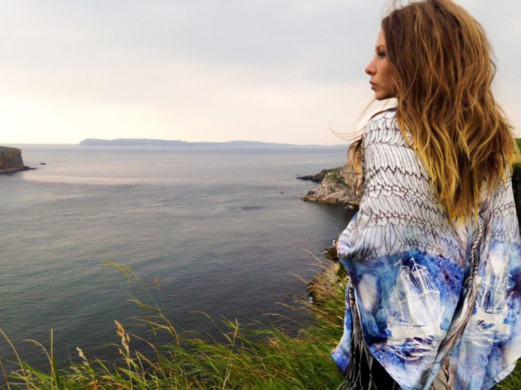 Wearing Éadach Lost Souls oversized silk scarf at Ballintoy