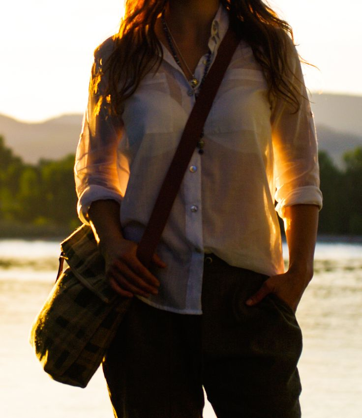 Jute Messenger paired with The Mosaic Light Classic White Blouse and City Harems -   Shop Now: www.mosaiclightdesigns.com