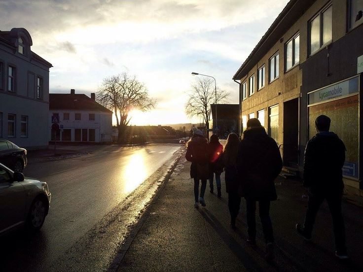 Stjørdal in snowless December, sun illuminating