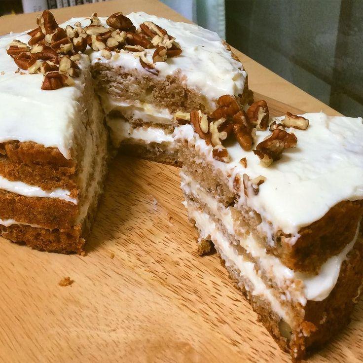 Humming Bird Cake#bake #baking #homemade #cake #hummingbirdcake #dessert #sweet #food #pecans #creamcheesefrosting #pineapple #banana by rastafarism