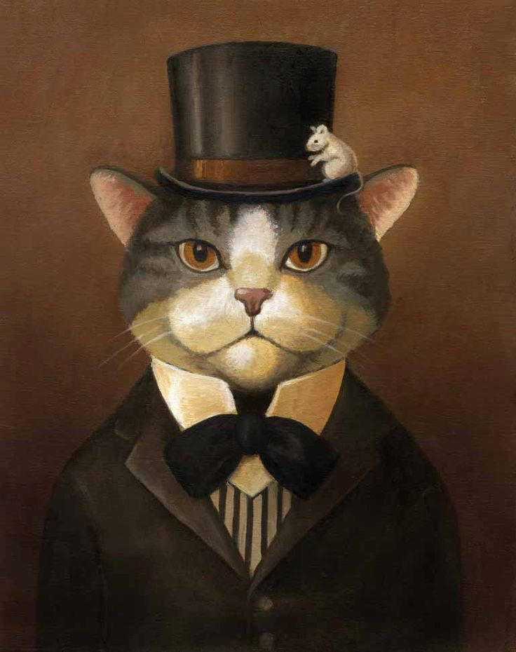 Cat Dandy Portrait by Lisa Zador    This dapper cat certainly is concerned with his appearance. His hat is always brushed and his tie straight. He is a gentleman and even counts mice among his friends. Painted in sepia tones this portrait gives the impression of being a vintage photograph for those who appreciate a good old fashioned cat portrait from yesteryear.