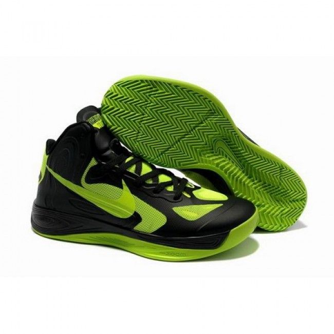 Classic Nike Zoom Hyperfuse 2012 Men Black Green Basketball Shoes For  $72.00 Go To: http