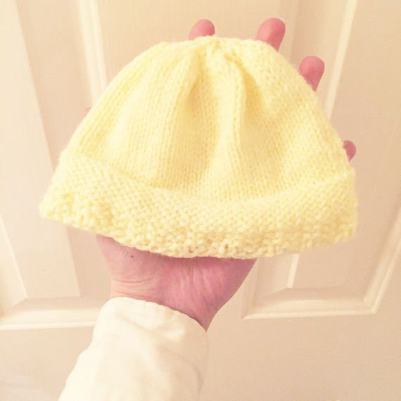 Yellow knitted hat new baby pale yellow wool hat baby