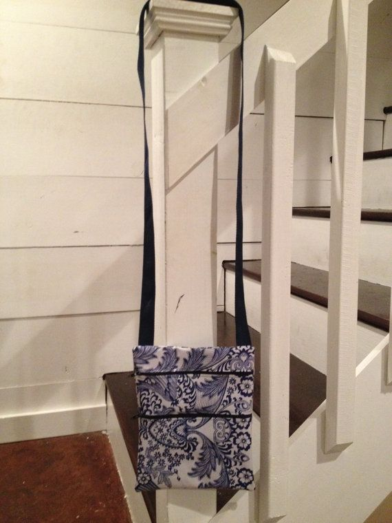"""*** Water-Resistant Blue Floral Toile Cross Body Bag ***  Sized at 7 ¾"""" (w) x 9 ¼"""" (h), this waterproof cross-shoulder purse will meet so many"""