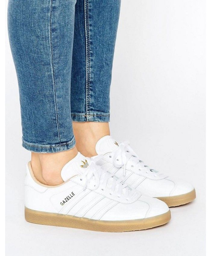timeless design b917c a5685 Adidas Gazelle Womens Leather Trainers In White With Gum Sole