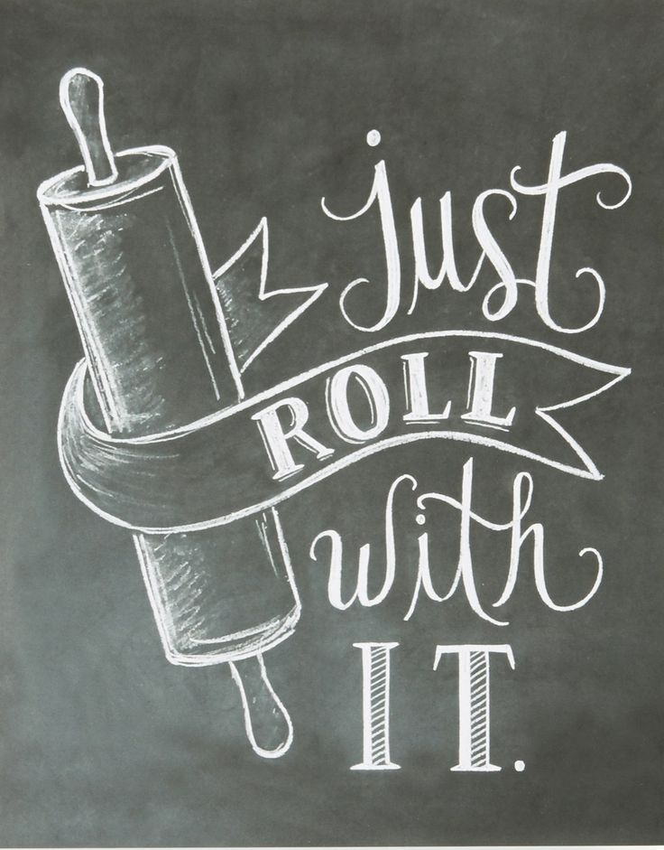 "No matter how hot it gets in the kitchen, this charming print is the perfect reminder to ""Just roll with it."""