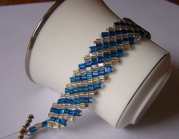 unique handmade Bead weaving bracelet by softpawcreations on Etsy, $34.50