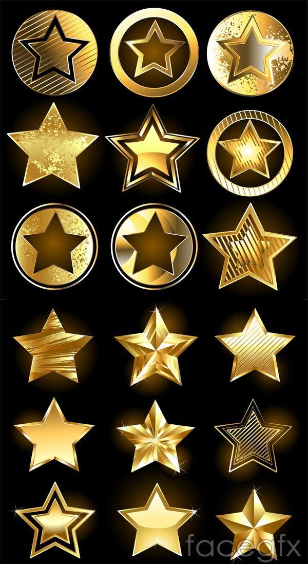 Gold star icon vector
