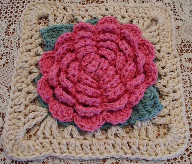 Crochet Rose Pattern Granny Square : Vintage Rose Afghan Square pattern by Jessica Elisabeth ...