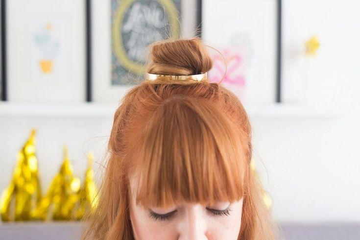 diy bun cuff fertig half-bun frisur gerader pony #hairstyles