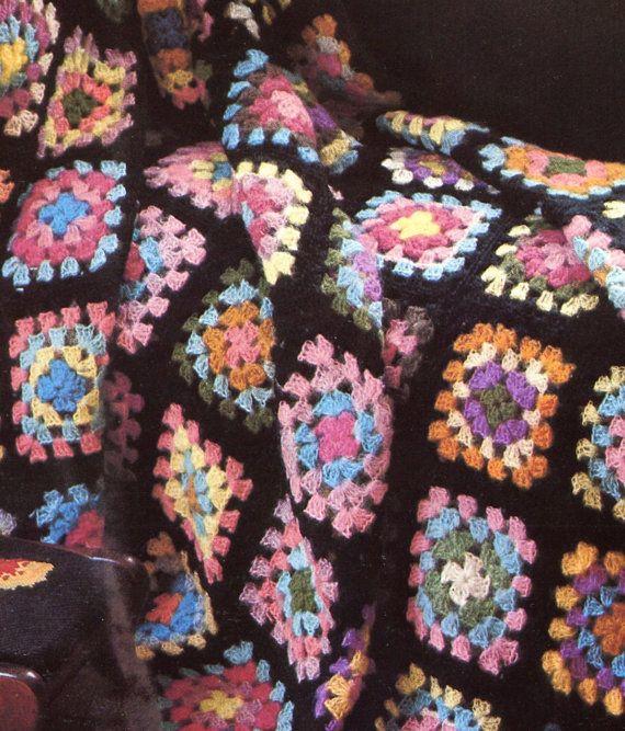 Classic 1970's Granny Squares Crochet Blanket Pattern