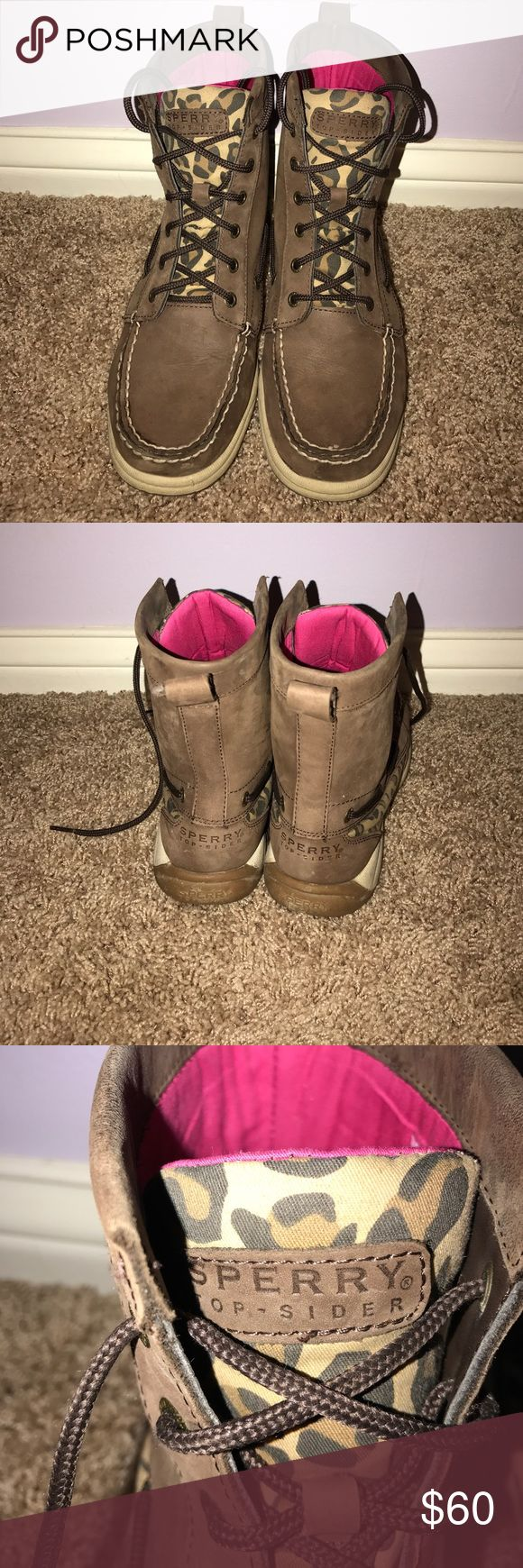 Sperry Top Sider Boots Super cute Sperry boots that are brown with cheetah print on the tongue. The inside of the shoe is hot pink. These boots work great for rainy days! Only worn a few times. Sperry Shoes Lace Up Boots