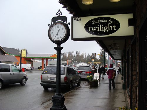 Forks, Washington.  We went to the Dazzled by Twilight store & visited all the Twilight-themed areas.