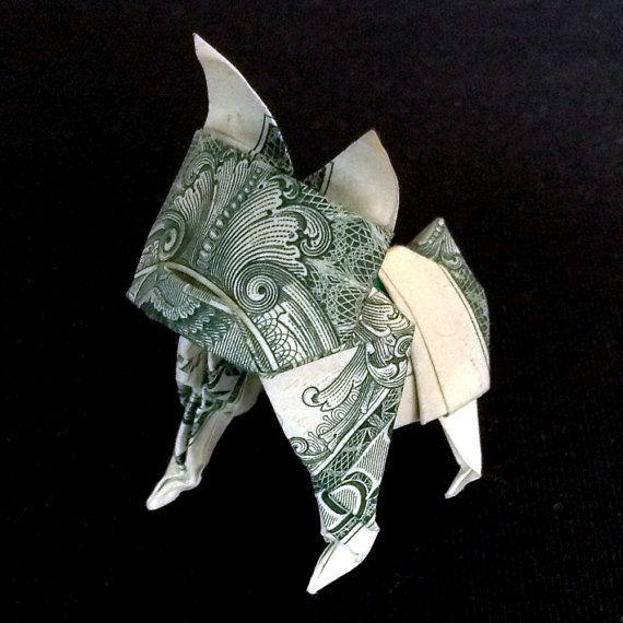 Dollar Bill Origami French BULLDOG Statue 3D Puppy Sculpture Money Paper Model Art Charm Gift Handmade Figurine Home Decor Real 1 US Dollar