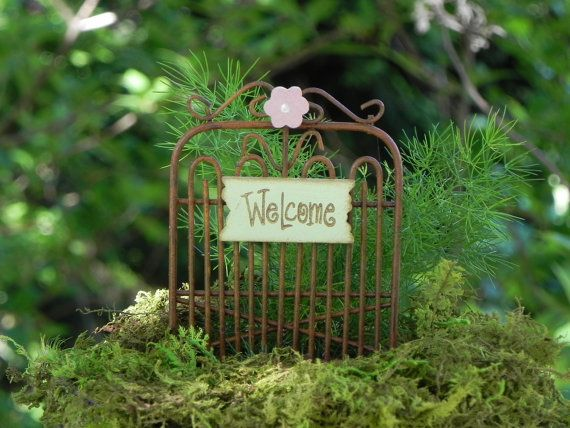 Fairy Garden Gate rusty with green welcome with pink flower accessories for miniature garden or terrarium