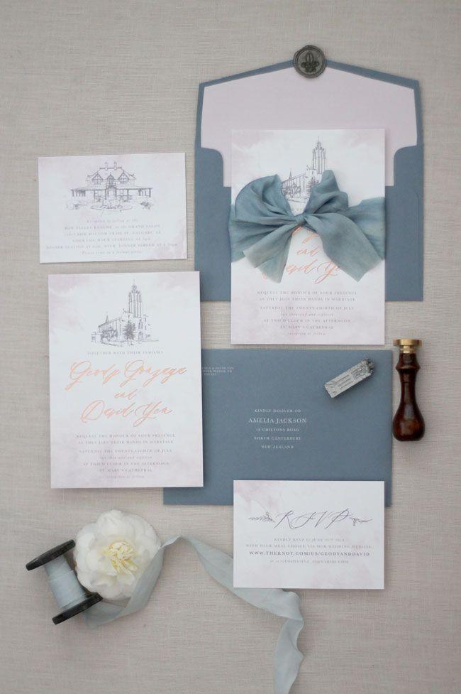 Just My Type Nz Wedding Invitations Stationery Dusky Blue Envelopes Dusty Laven Wedding Invitations Romantic Blue Wedding Invitations Foil Wedding Invitations