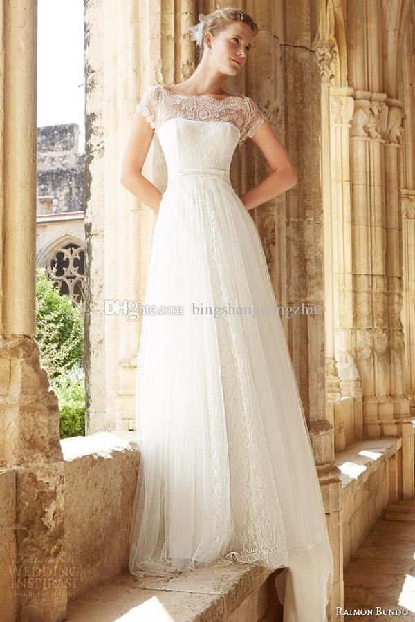 Ball Wedding Gowns 2015 Modest Wedding Dresses With Short Sleeves Bateau Neck Cap Sleeves Lace Tulle Aline Wedding Gown Backless Bridal Dress Sweep Train 2014 Best Wedding Gown From Bingshanggongzhu, $140.2| Dhgate.Com